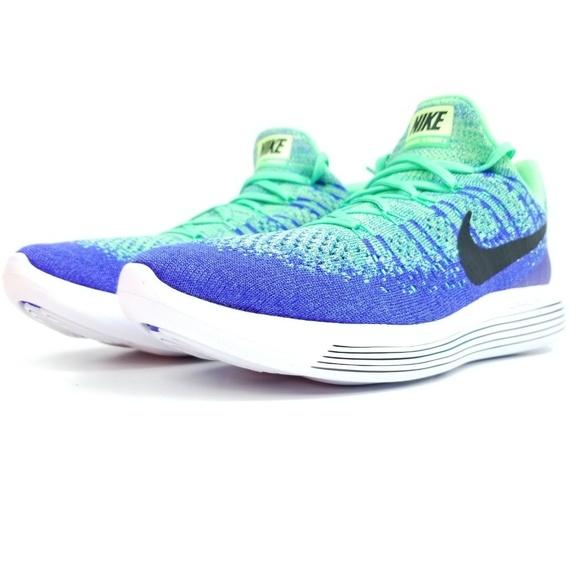 huge selection of 45e93 b5984 NIKE Lunar Epic Low Flyknit Mens Shoes Blue Green